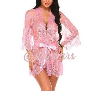 Pink Lace Kimono Robe Babydoll Lingerie